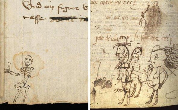 Каракули 15-го века в самом низу рукописи, содержащей сатиры Ювенала