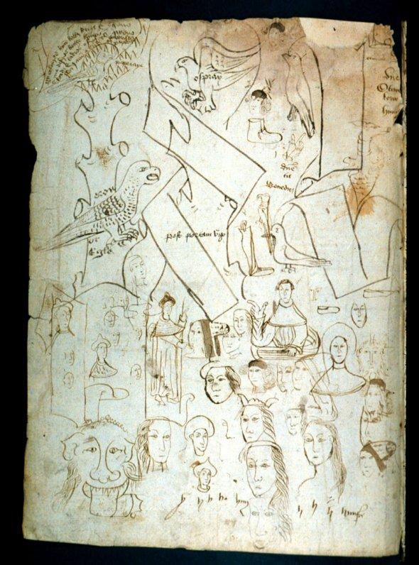 Средневековые книжники проверяли свои перья написанием коротких предложений и рисованием таких вот каракулей.