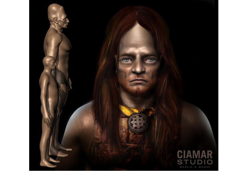 Цифровая 3D-скульптура гиганта с волосами, медным нагрудником, и ожерельем