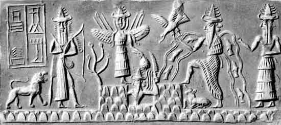 Шумерская глиняная табличка, изображающая Энки, творящего человека