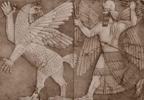 Шумерский бог солнца и чудовище, олицетворявшее хаос
