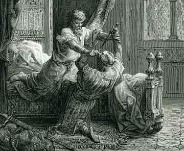Литография Гюстава Доре, девятнадцатый век, изображает покушение на английского короля Эдуарда I