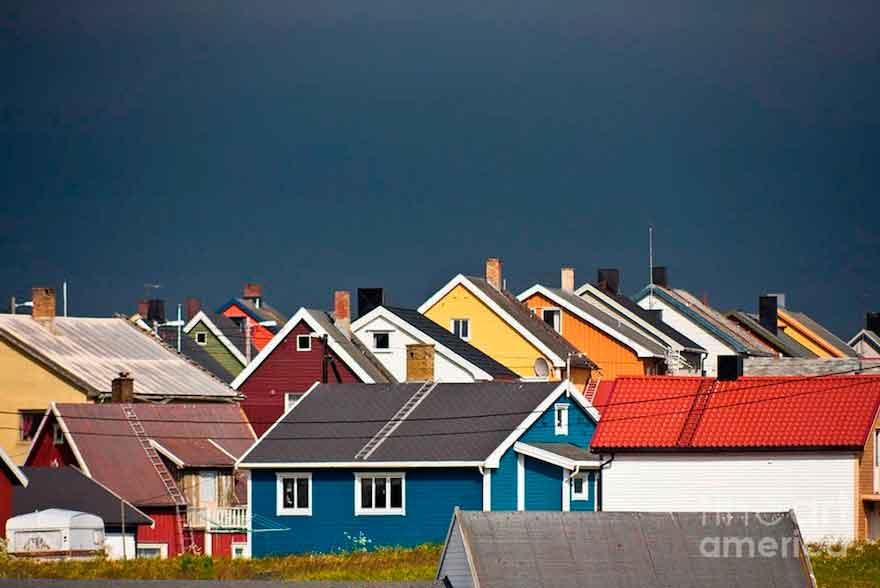 Разноцветные домики, Finnmark, Норвегия