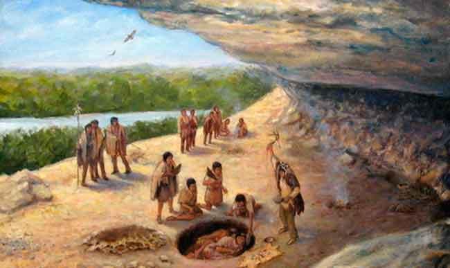 Охота древних индейцев на глиптодона - животное, предположительно вымершее благодаря появлению древнего человека в Южной Америке (Генрих Хардер, 1920 год)