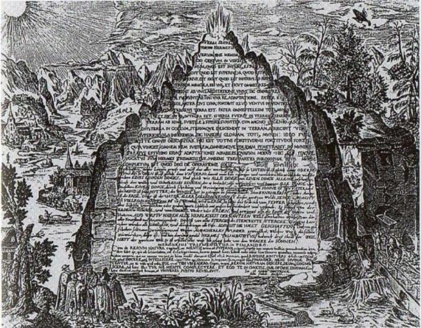 Художественное изображение изумрудной скрижали работы Генриха Хунрата, 1606 (Общественное достояние).