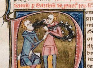 Стоматолог с серебряным пинцетом и ожерельем из крупных зубов удаляет зуб у сидящего человека, 1360-1375. (Общественное достояние)